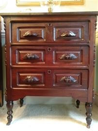 One of a pair of antique 3-drawer mahogany chests, from the estate of the late Katherine Hardy, one of Marietta's first female lawyers.