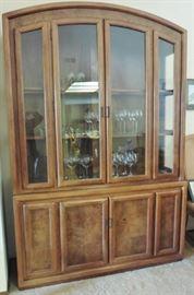 Oak and mixed wood china cabinet