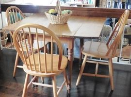 Casual drop leaf table, 3 chairs