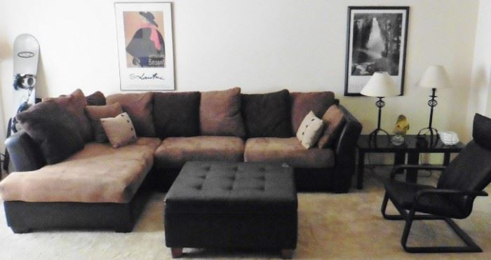 Ashley Furniture sectional sofa, Ikea table, framed posters
