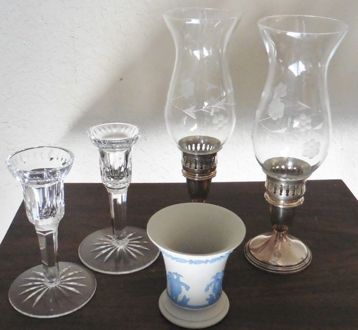 Candleholders-Waterford and sterling; Wedgwood pot
