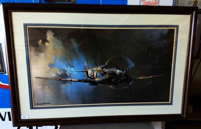 "Large WWII-era Print of ""Spitfire"" Framed and Matted, Artist Signed"