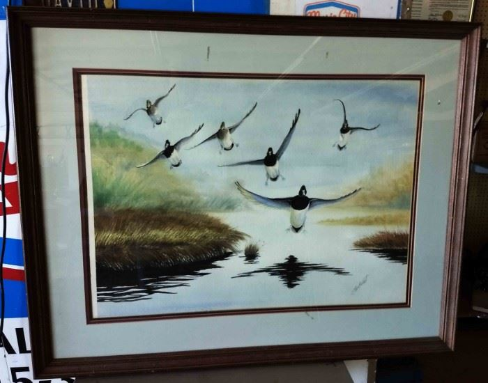 "Vintage ""Birds in Flight"" Print, Artist Signed Lee Brent"
