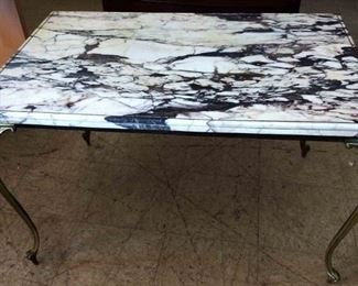 Vintage Brass/Marble Top Table