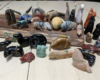 Hand carved, by native indians, stone fetishes. Many Many more not pictured