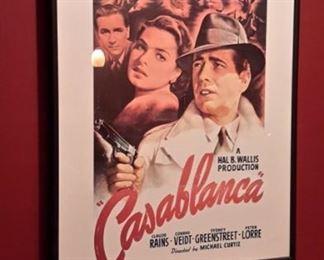 """Framed """"Casablanca"""" movie poster."""