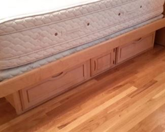 California King mattress and box 18 inches extra deep with  2 twin box springs (mattress cover has protected it) with lighted headboard with side storage, and base with pedestal drawers...tons of storage!
