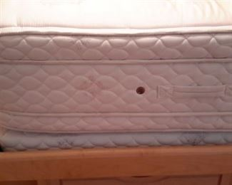 California King mattress and box 17 inches deep 2 twin box springs (mattress cover has protected it) with lighted headboard with side storage, and base with pedestal drawers...tons of storage!