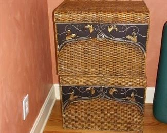 Two rattan and metal trunks.
