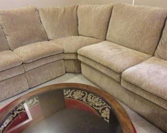 La-Z-Boy sofa with recliner and chaise lounger. MCM glass top coffee table.