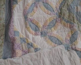 King sized handmade quilt and 2 pillow cases.