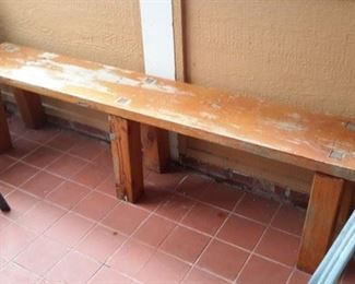 Long hand made bench.