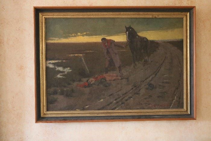 Late 19th century oil painting, signed Samuel H. Collom
