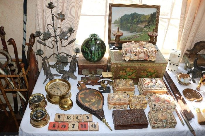 Carved Canes, clocks, Sailors Shell boxes, Folk art
