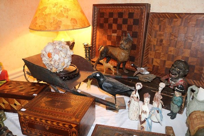 19th century signed marquetry boxes and Folk Art