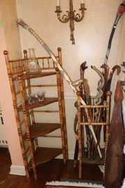 Carved, painted, and signed canes, Faux Bamboo Stands