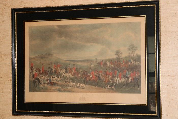 Large hunting lithograph