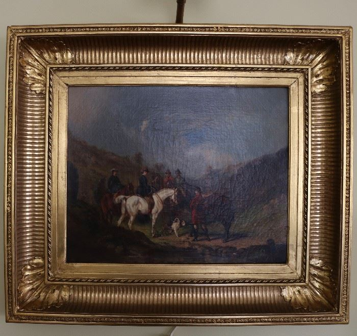 19th c Continental oil on canvas artist signed