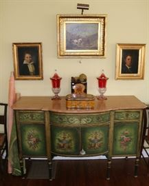 19th century original artwork, painted sideboard and flash glass