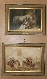 pair watercolors attributed to Adam Albrecht