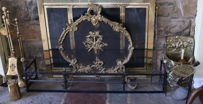 fire screen and poker set