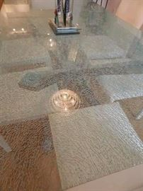 Dining table ...extra thick crackle glass. Nice!!!
