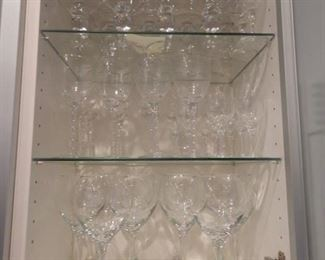 Cabinet full of wine glasses and other nice drinking vessels!