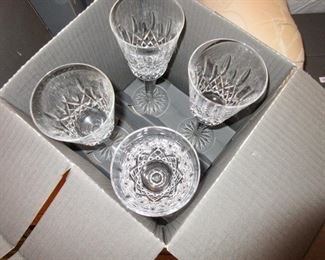 Many Boxes of Waterford Wine Glasses