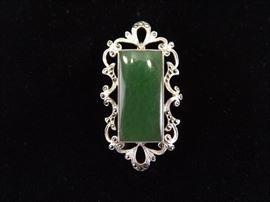 .925 Sterling Silver Antique Large Emerald Baguette Art Nouveau Brooch