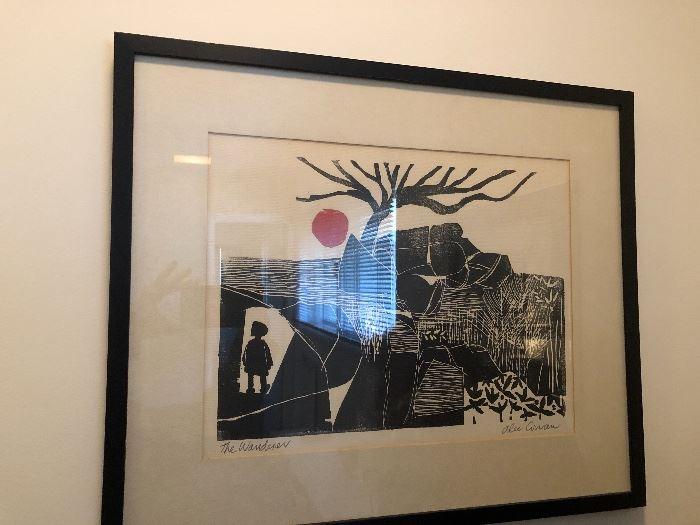 "Block Print ""The Wanderer"" by Alec Cowan"