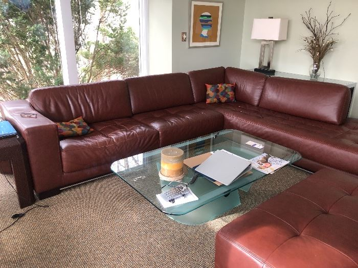 Custom Leather sofa originally $6000 Your price $2500 FIRM with ottoman