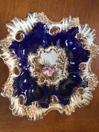 Antique cobalt  blue hand  painted freeform dish