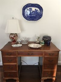 Desk, Antique flow blue platter