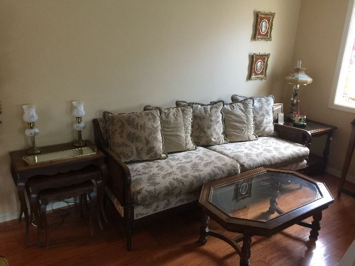 Nice sofa with pillow back, nesting side tables, matching end table and coffee table