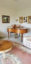 Kimball baby grand piano, beautiful area rug