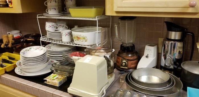 Pyrex, Corningware, vintage blender, etc.