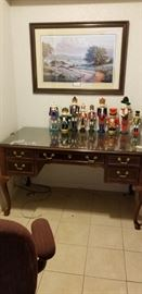 Nice Queen Anne style desk, framed bluebonnet print, nutcrackers