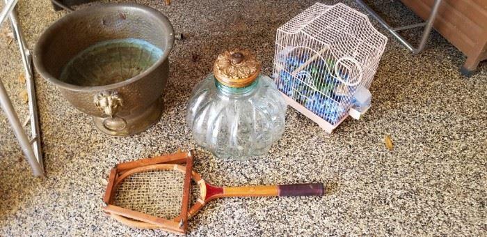 Brass planter, big glass jar, bird cage