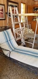 Iron chaise lounge, step ladders