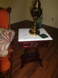 Pair of marble top lyre tables