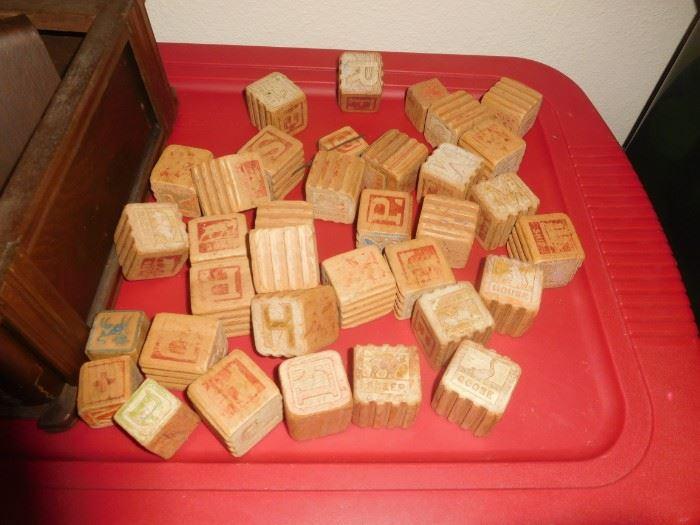 Antique wood blocks