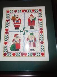 Embroidered Santas