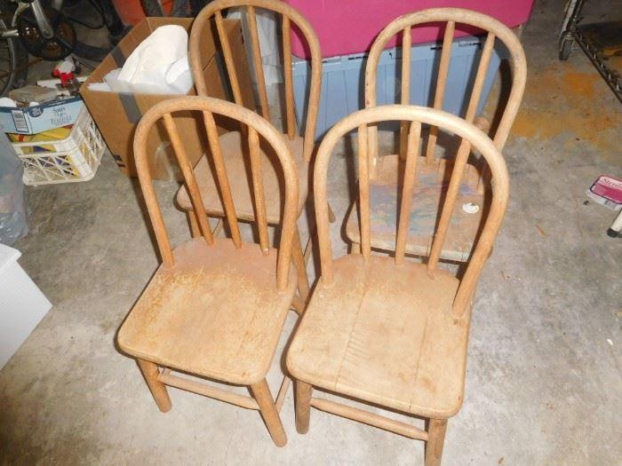 Antique oak child's chairs