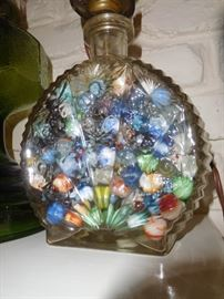 Lamp made from decanter & old marbles
