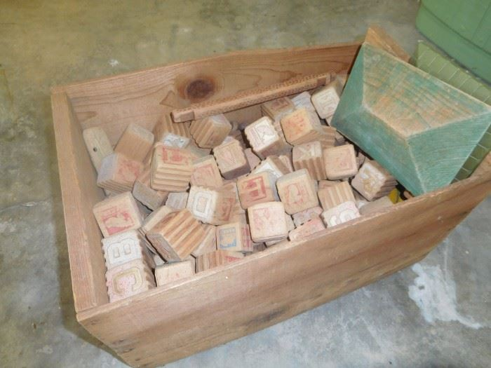 Another crate of antique wooden blocks