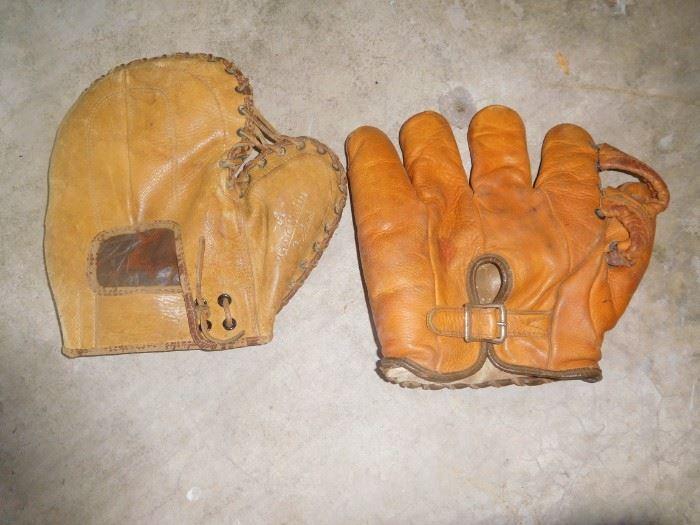 Antique baseball gloves