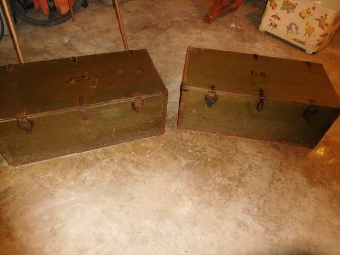 Pair of 1942  army wooden trunks