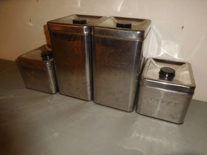 Mid Century chrome canister set