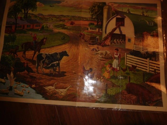 Large laminated school room poster.... 1950s
