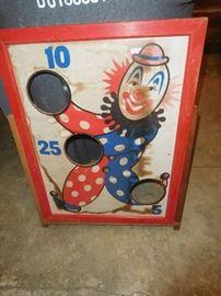 Old clown bean bag toss
